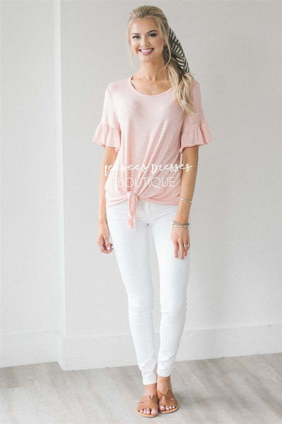 Striped Ruffle Sleeve & Tie Front Top Tops vendor-unknown