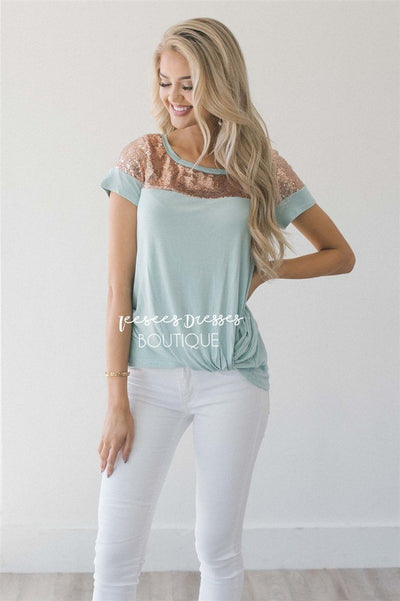 Sequin Shoulder Twist Top Tops vendor-unknown S Mint