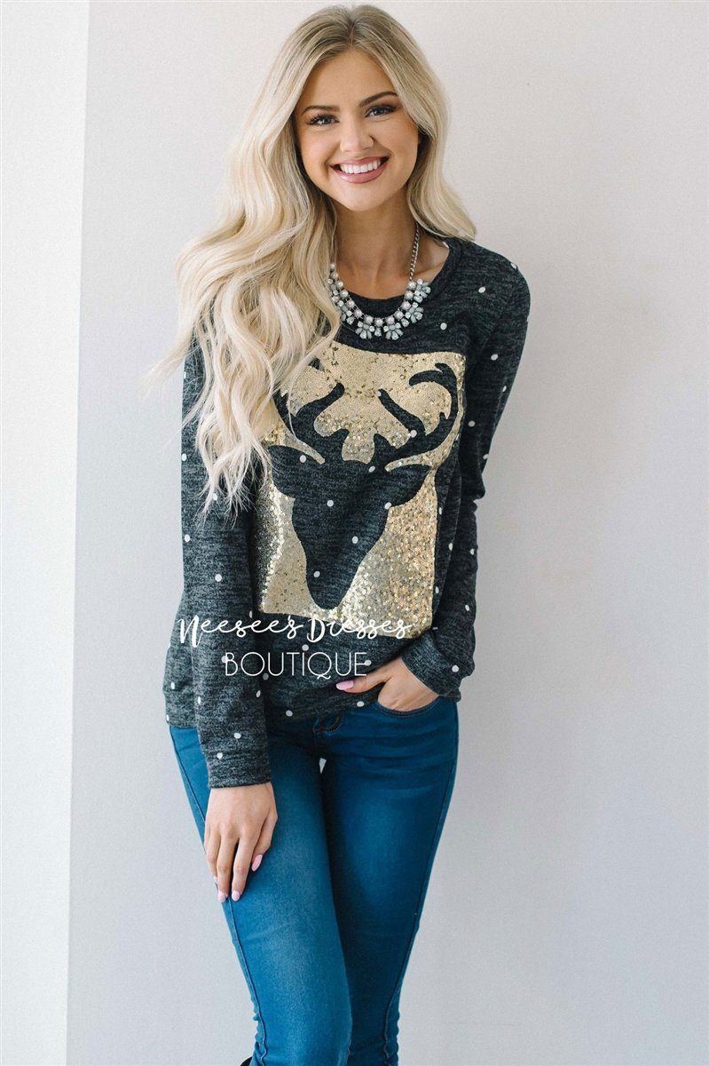White Gold Sequin Reindeer Sweater | Cute Comfy Cardigans