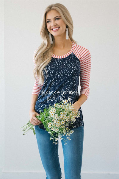 Twinkle Star Striped Baseball Sleeve Top Tops vendor-unknown Navy Twinkle Stars/ Red Stripes XS