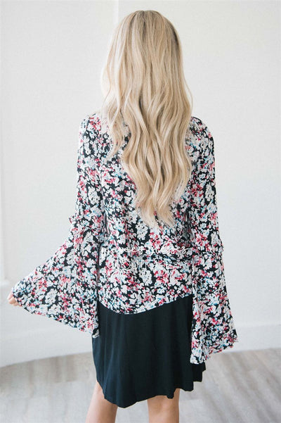 Long Bell Sleeve Ruffle Trim Top Tops vendor-unknown