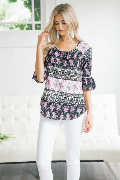 Lace Trim Bell Sleeve Chiffon Top Tops vendor-unknown XS Black & Magenta Floral Stripes
