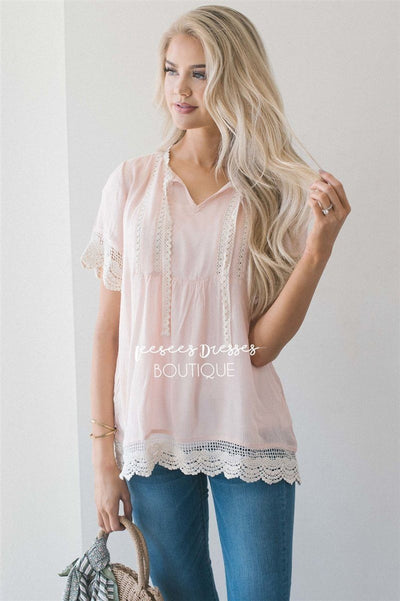 Baby Doll Lace Scallop Hem Blouse Tops vendor-unknown S Light Pink