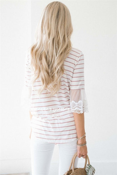 Lace Bell Sleeve Tie Front Top