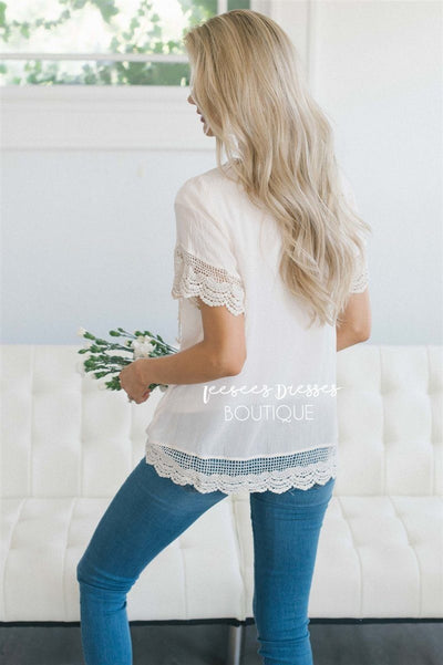 Baby Doll Lace Scallop Hem Blouse