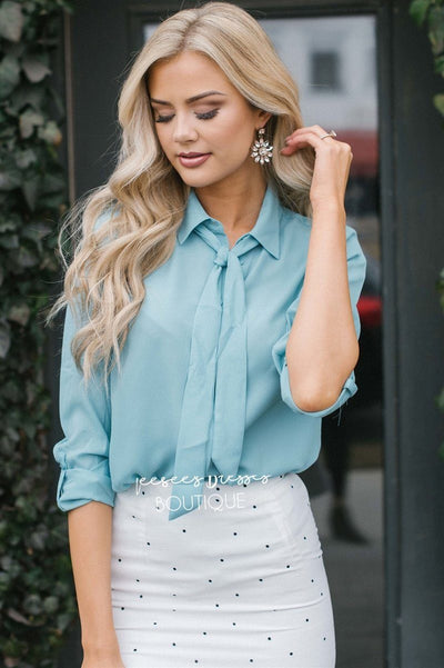 Neck Tie Button Up Blouse Tops vendor-unknown S Dusty Blue