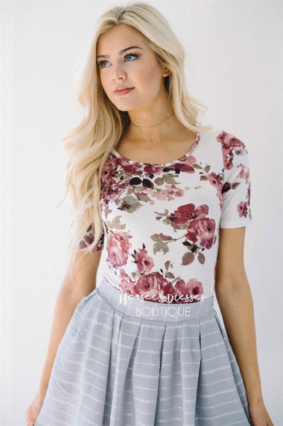 Lovely Mauve Rose Floral Top Tops vendor-unknown Floral XS