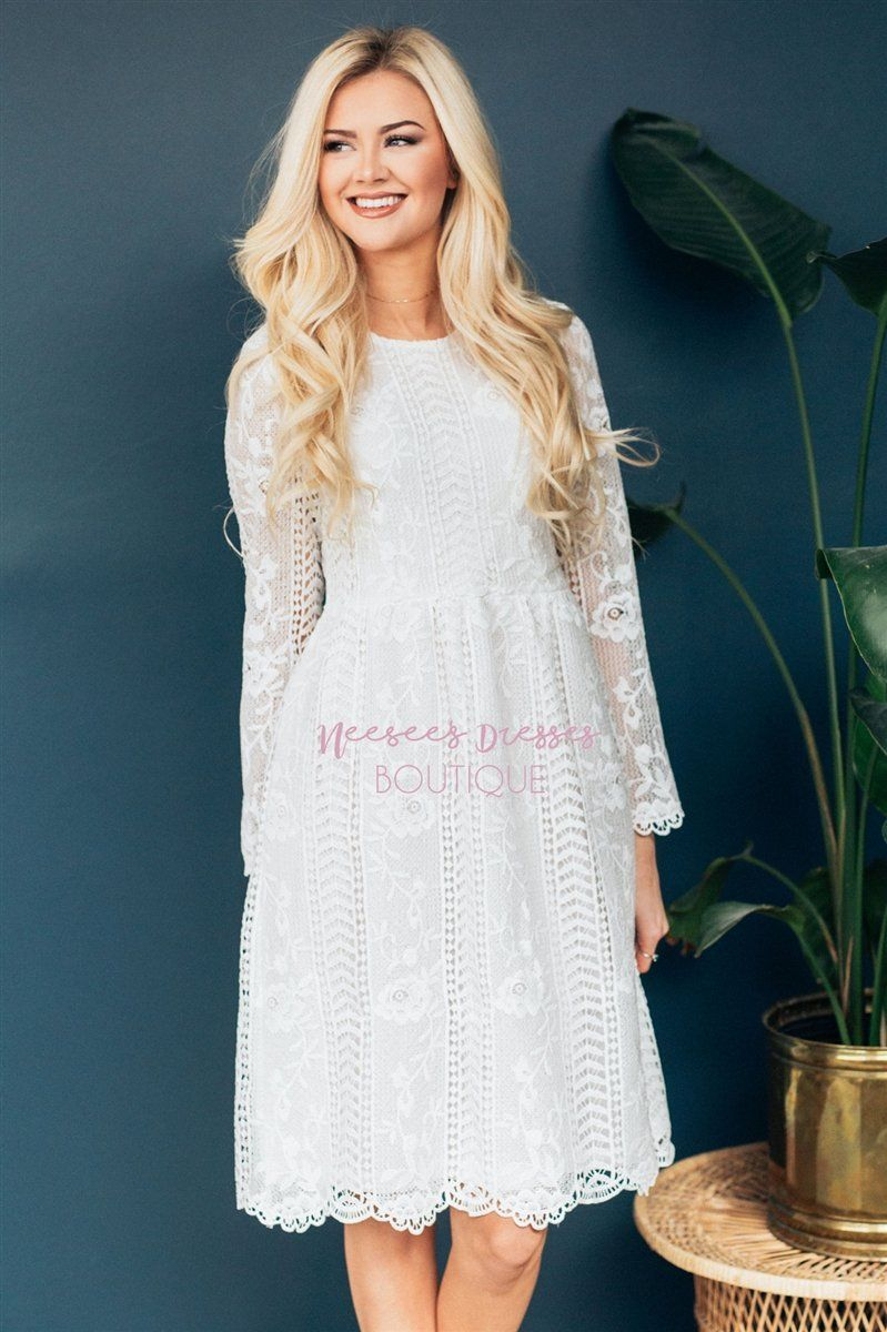 Love At First Sight White Lace Dress Modest Dresses vendor-unknown S White