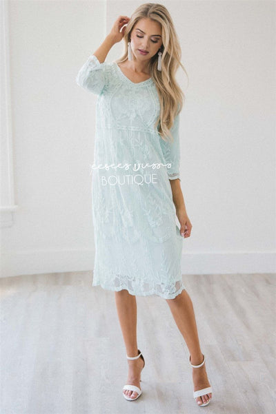 Day Dreamer Lace Dress in Pastel Mint Modest Dresses vendor-unknown Pastel Mint Small/Medium