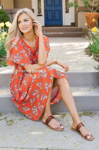 The Rylynn Modest Dresses vendor-unknown S Poppy Red Floral