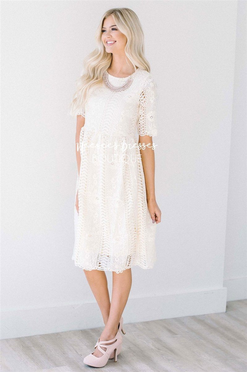 Love At First Sight Cream Lace Dress Modest Dresses vendor-unknown S Cream