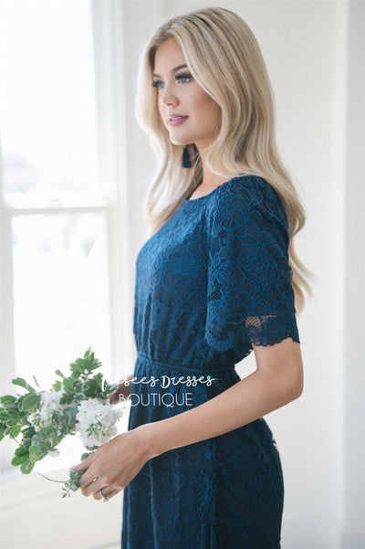 Navy Scallop Lace Dress Modest Dresses vendor-unknown