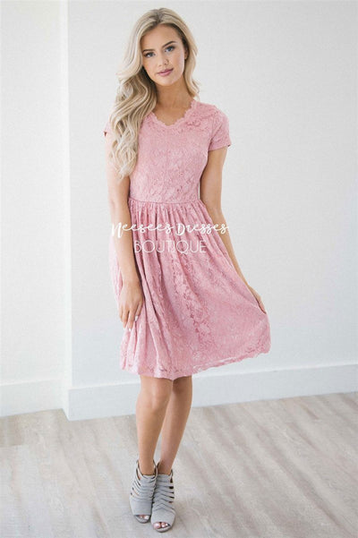 Pretty in Pink Eyelash Lace Dress Modest Dresses vendor-unknown