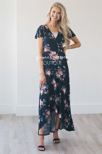 The Alessandra Modest Dresses vendor-unknown Navy Floral S