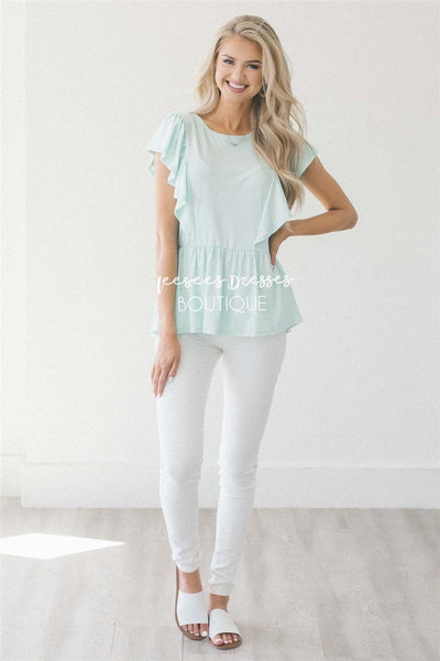 Peplum Ruffle Top Tops vendor-unknown