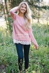 Scallop Lace Hem Cable Knit Sweater Tops vendor-unknown