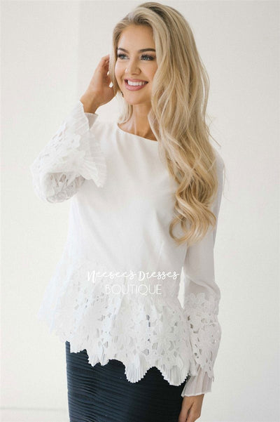 Stunning Lace & Pleats Bell Sleeve Blouse Tops vendor-unknown White S