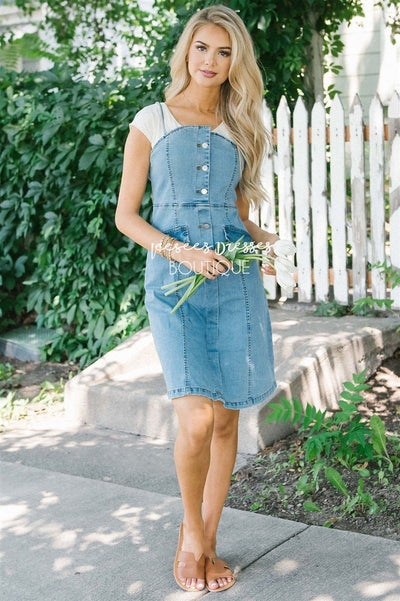 ae60574b5e The Sally Denim Overall Dress Modest Dresses vendor-unknown