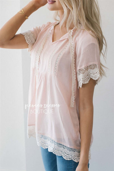 Baby Doll Lace Scallop Hem Blouse Tops vendor-unknown