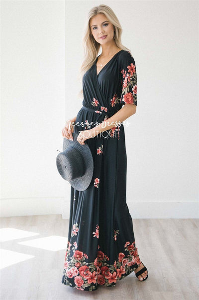 The Jade Modest Dresses vendor-unknown Black & Red Floral S