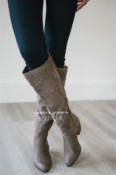 The Maddie Lace Trim Boot Accessories & Shoes vendor-unknown