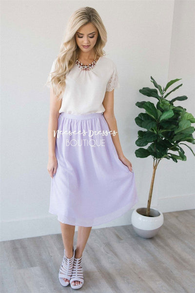 Lavender Chiffon Skirt Skirts vendor-unknown Lavender XS