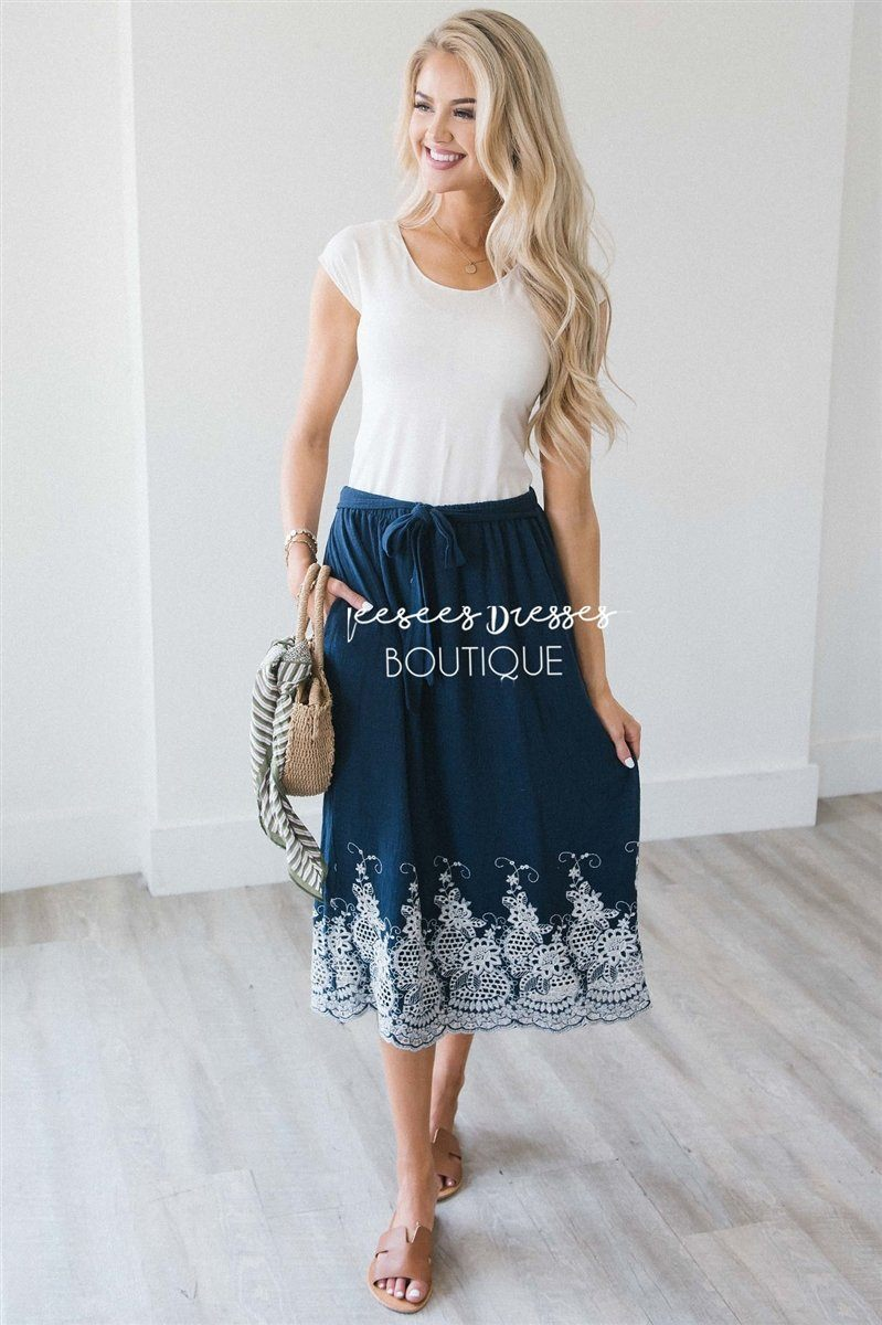 8f9604cd83a1 Embroidered Scallop Trim Tie Waist Skirt Skirts vendor-unknown Navy S