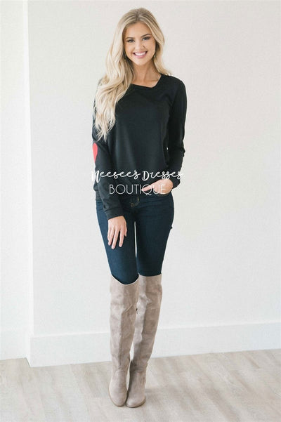 Heart Elbow Patch Sweater Tops vendor-unknown
