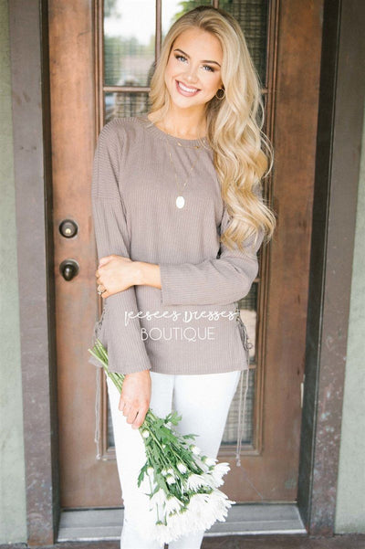 Side Lace Up Sweater Tops vendor-unknown