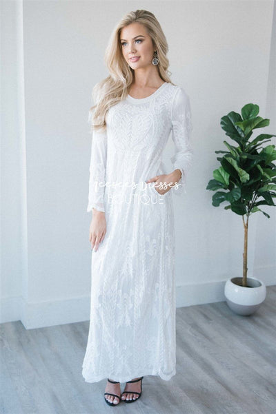 Day Dreamer Lace Full Length Dress Modest Dresses vendor-unknown White with Pockets Small/Medium