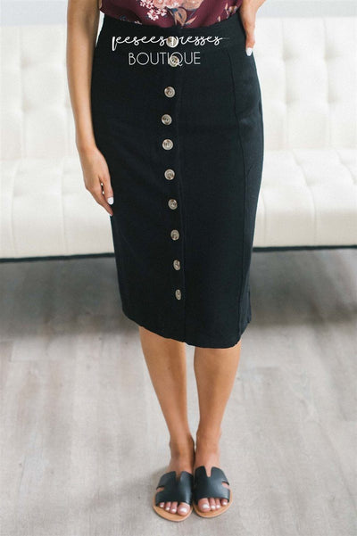 Button Front Relaxed Pencil Skirt