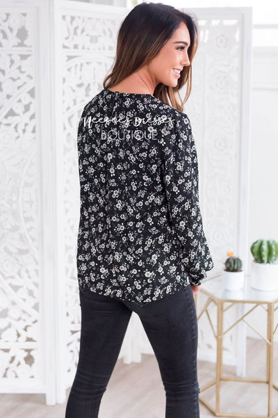 Oh, So Pretty Floral Blouse Modest Dresses vendor-unknown