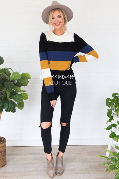 Stay Cozy Color Block Sweater Modest Dresses vendor-unknown
