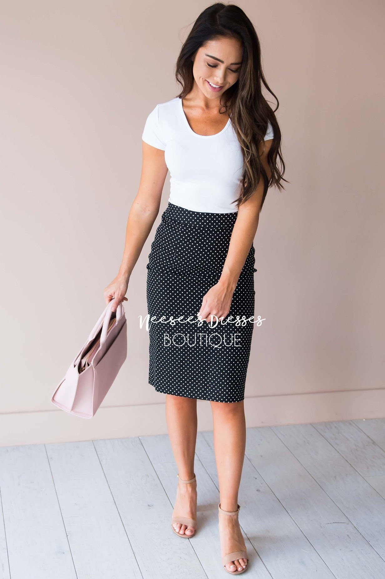 0328381f3365 Black w/White Polka Dots Textured Modest Skirt   Best and Affordable ...