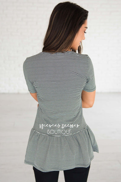 Never Stop Looking Up Peplum Top Modest Dresses vendor-unknown