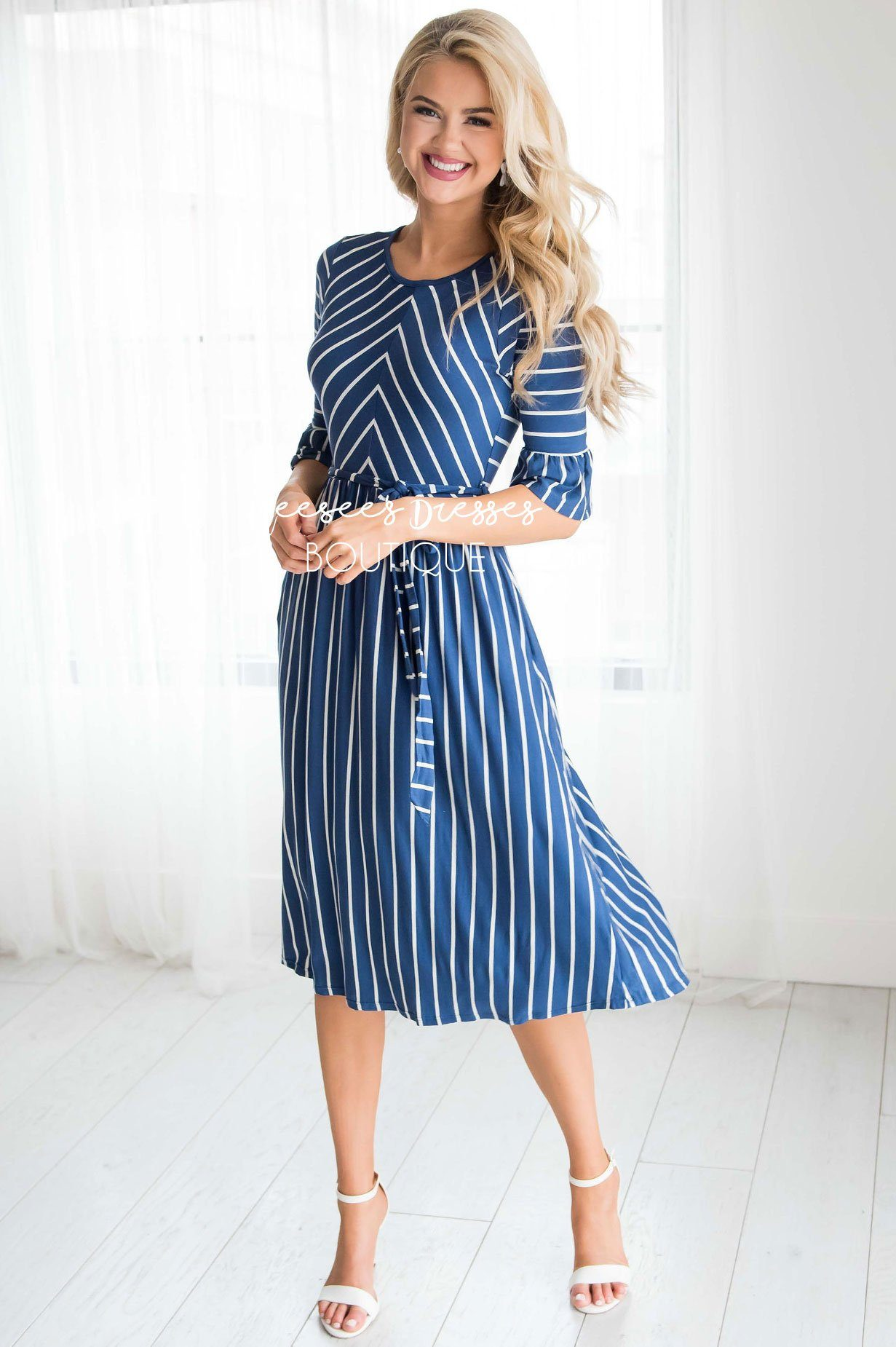 Dark Blue Striped Modest Dress | Best Modest Dresses - NeeSee's ...