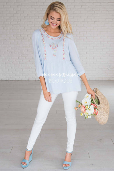 Spring Is In The Air Embroidered Blouse Modest Dresses vendor-unknown