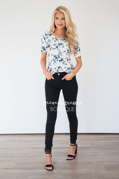 Ivory Blue Floral Scoop Neck Top Tops vendor-unknown