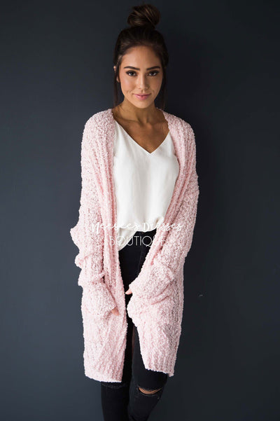 Popcorn Knit Oversized Cardigan Modest Dresses vendor-unknown