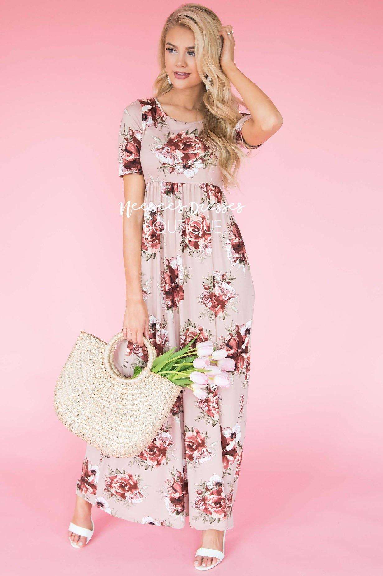 2a8ca66e29dc8 Miranda Modest Maxi Dress in Burgundy wBlush Floral Print
