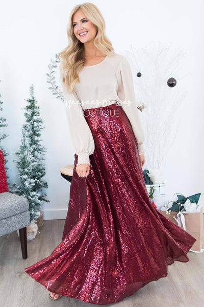 Stunning Sequin Maxi Skirt Modest Dresses vendor-unknown