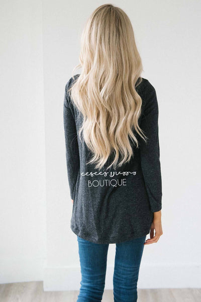 Lace Yoke Long Sleeve Thermal Tops vendor-unknown