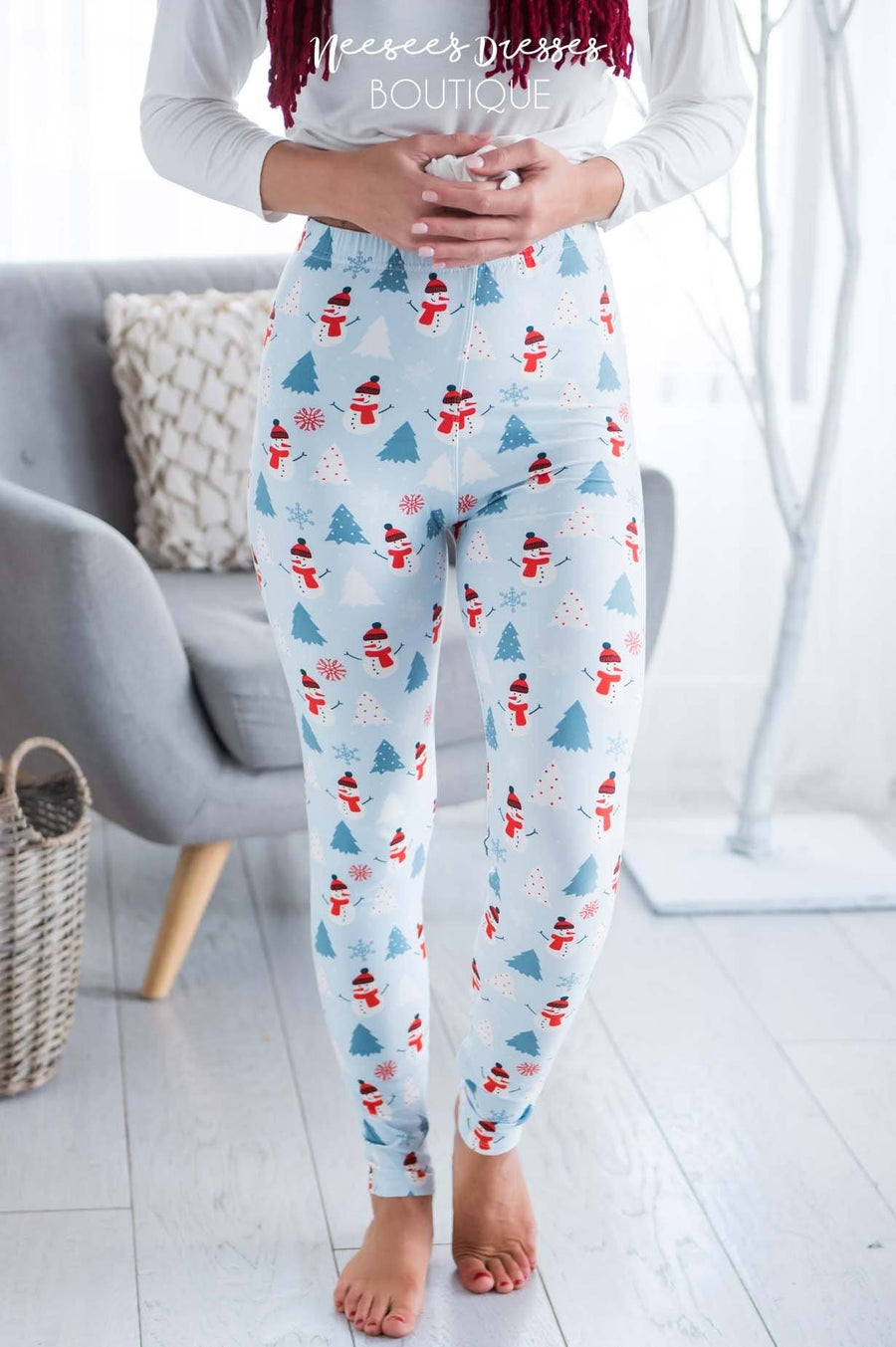 Trees & Snowman Christmas Leggings Accessories & Shoes vendor-unknown