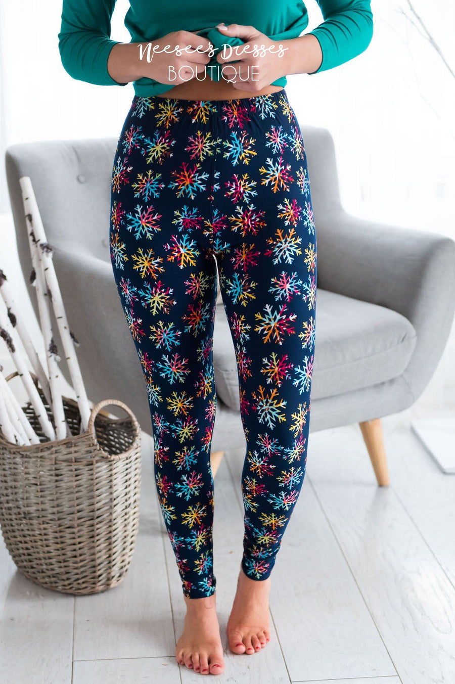 Colorful Snowflakes Christmas Leggings Accessories & Shoes vendor-unknown