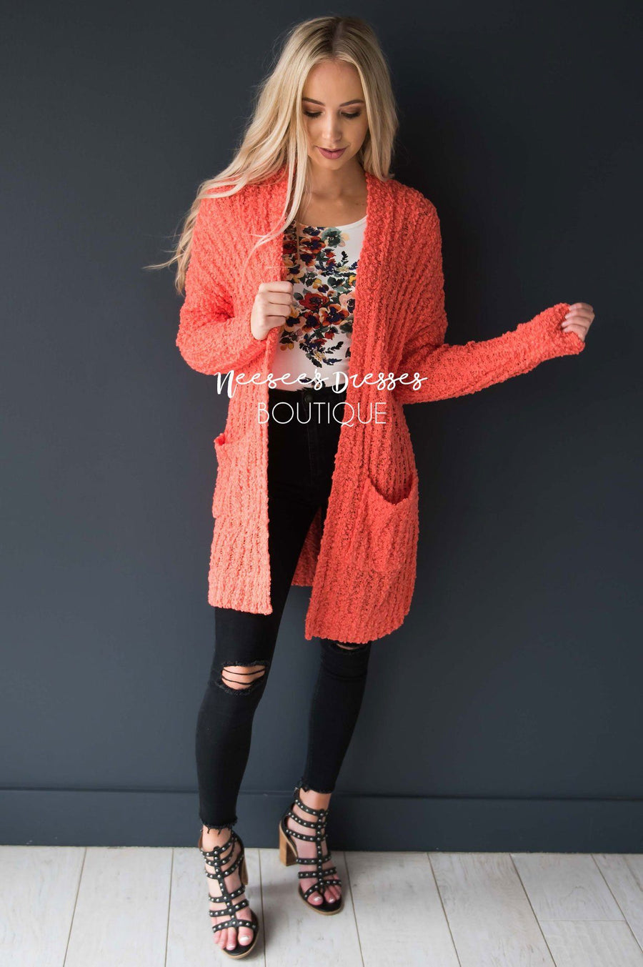 Popcorn Knit Oversized Cardigan