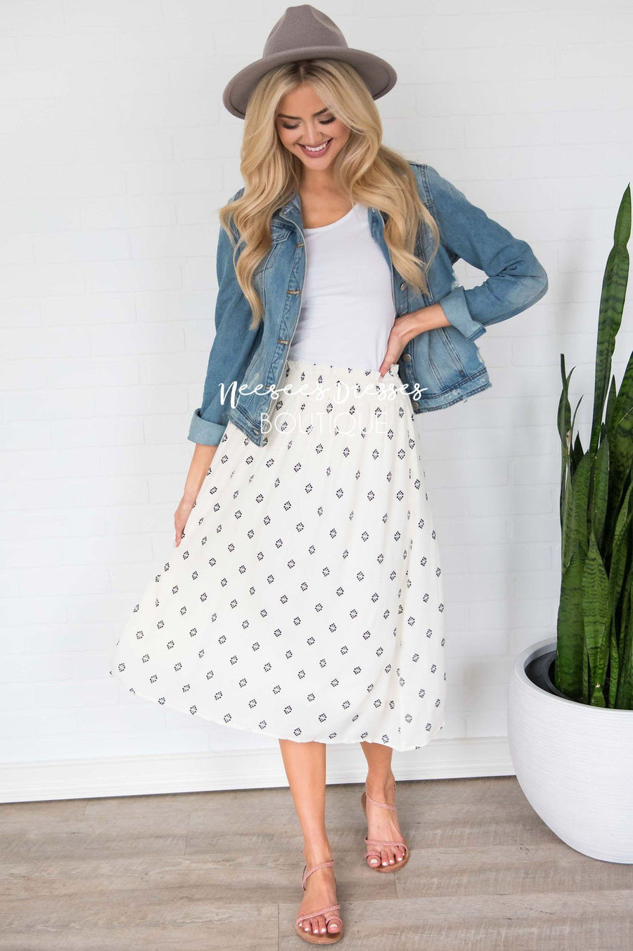 Keep Life Simple Diamond Print Skirt Modest Dresses vendor-unknown