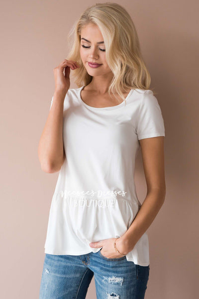 Coffee Date Peplum Top Modest Dresses vendor-unknown