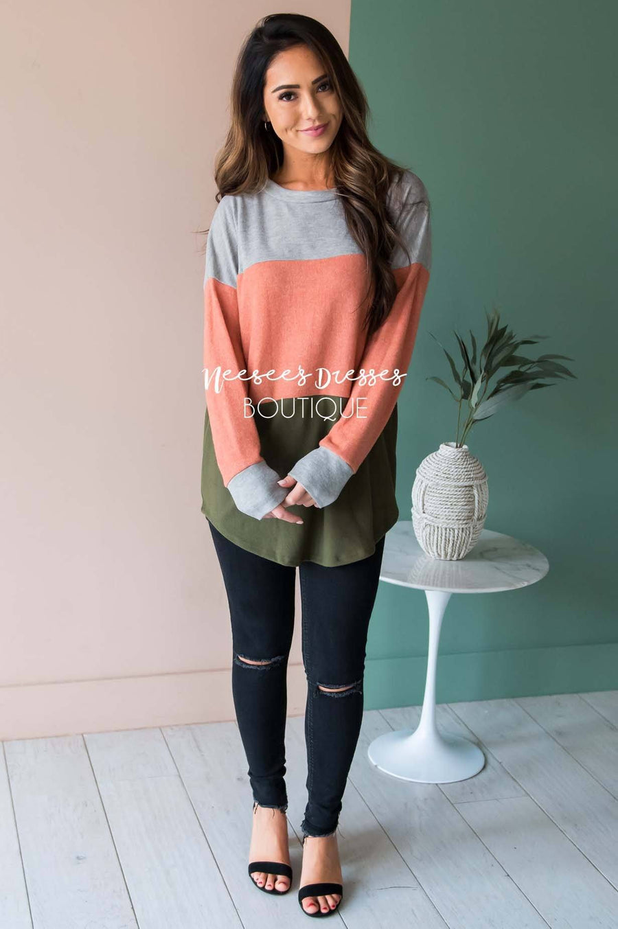 Darling Be Mine Color Block Sweater Modest Dresses vendor-unknown