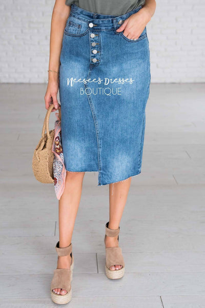 Pretty In Denim Asymmetrical Skirt Modest Dresses vendor-unknown