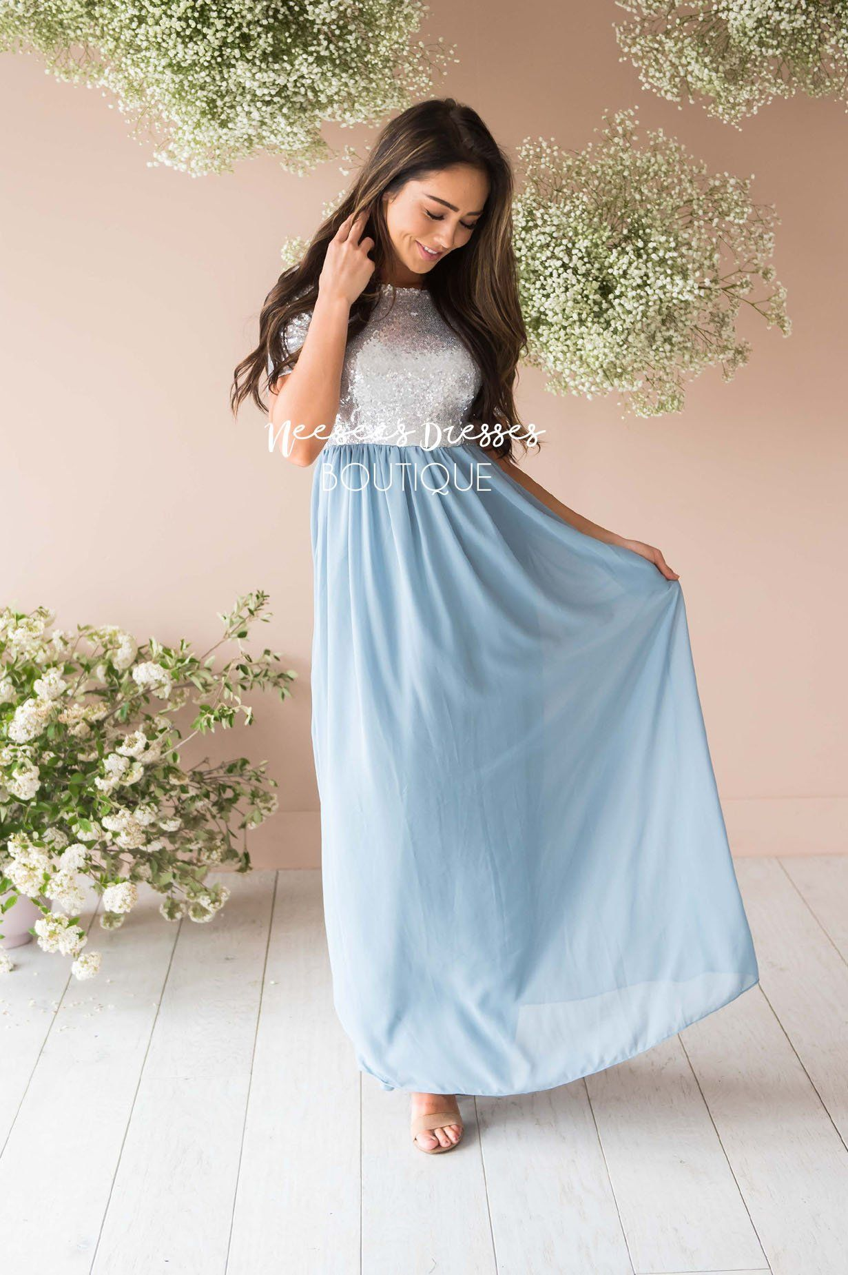dusty maxi modest sleeves bridesmaid chiffon elsa sequin gown outfits